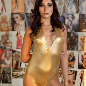 American Apparel gold metallic halter onesie